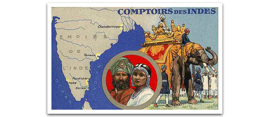 La carte des Comptoirs français de l'Inde