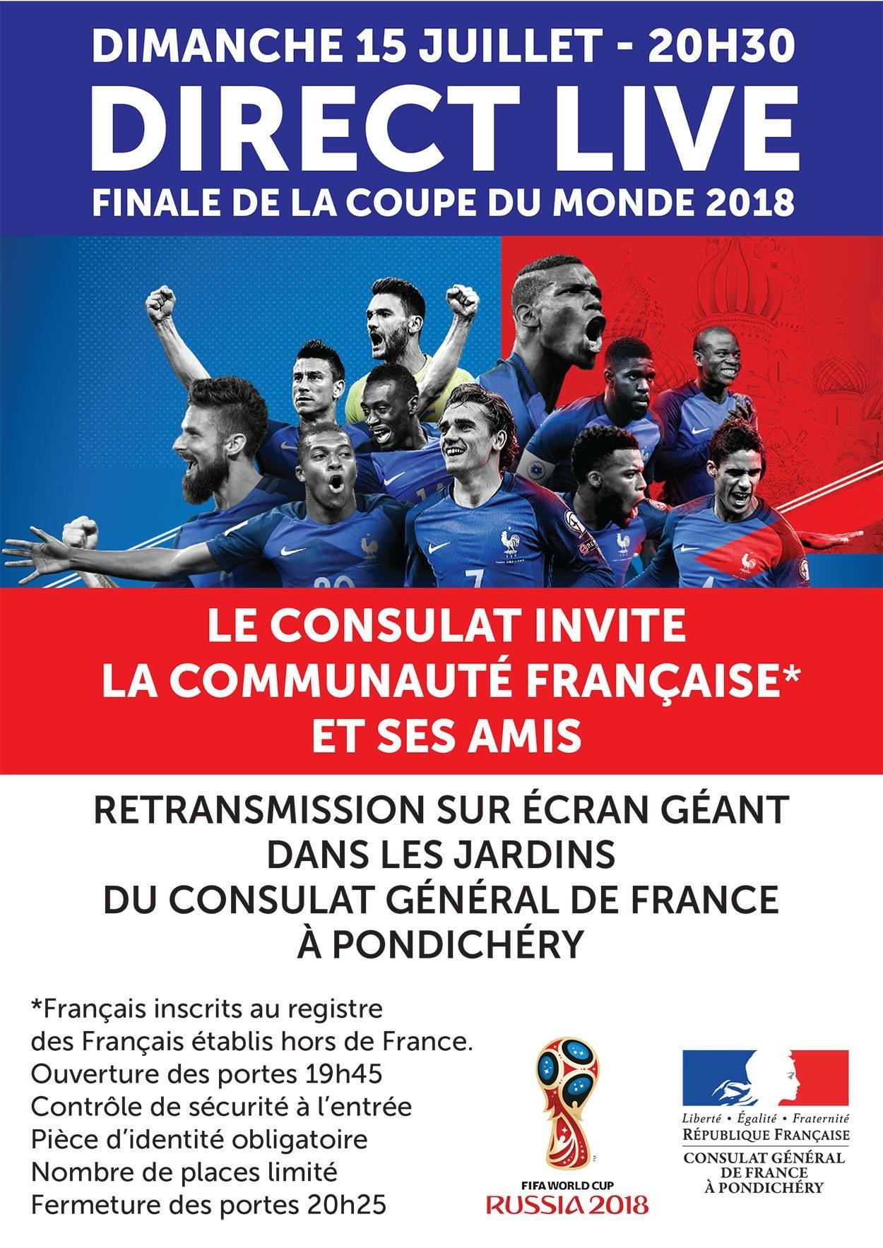 Finale de la Coupe du monde 2018 -  Consulat de Pondichéry