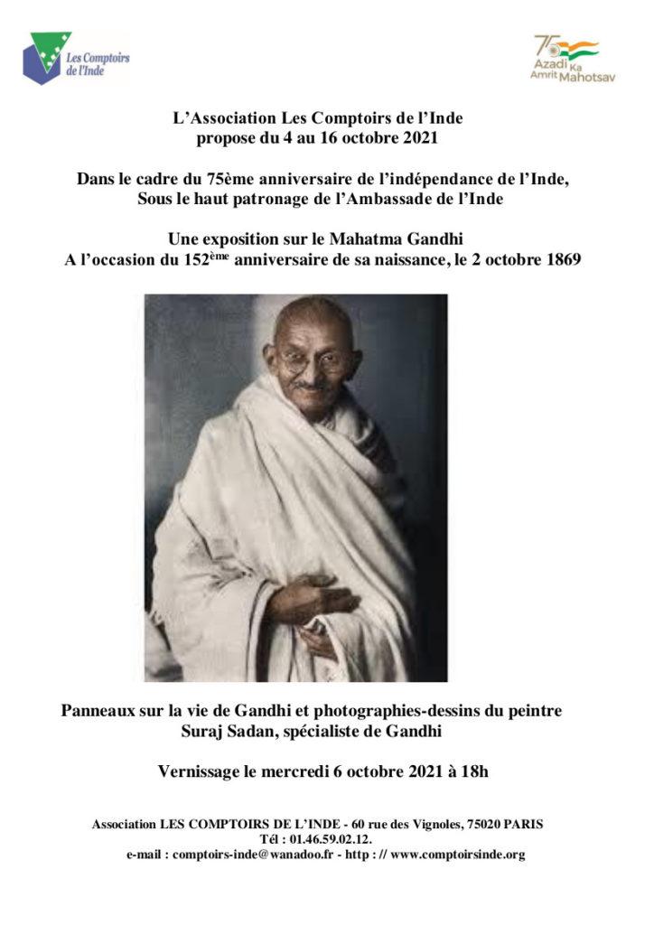 Exposition Gandhi @ Association Les Comptoirs de l'Inde