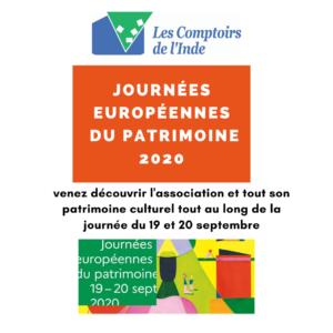 Les journées européennes du Patrimoine 2020 @ Association les Comptoirs de l'Inde